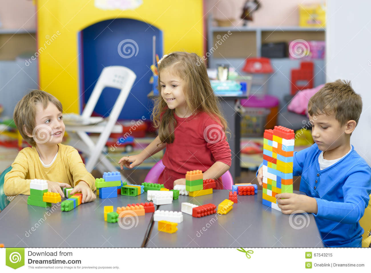 Child Care Floor Plans Three Kids Playing At Kindergarten Stock Image Image Of