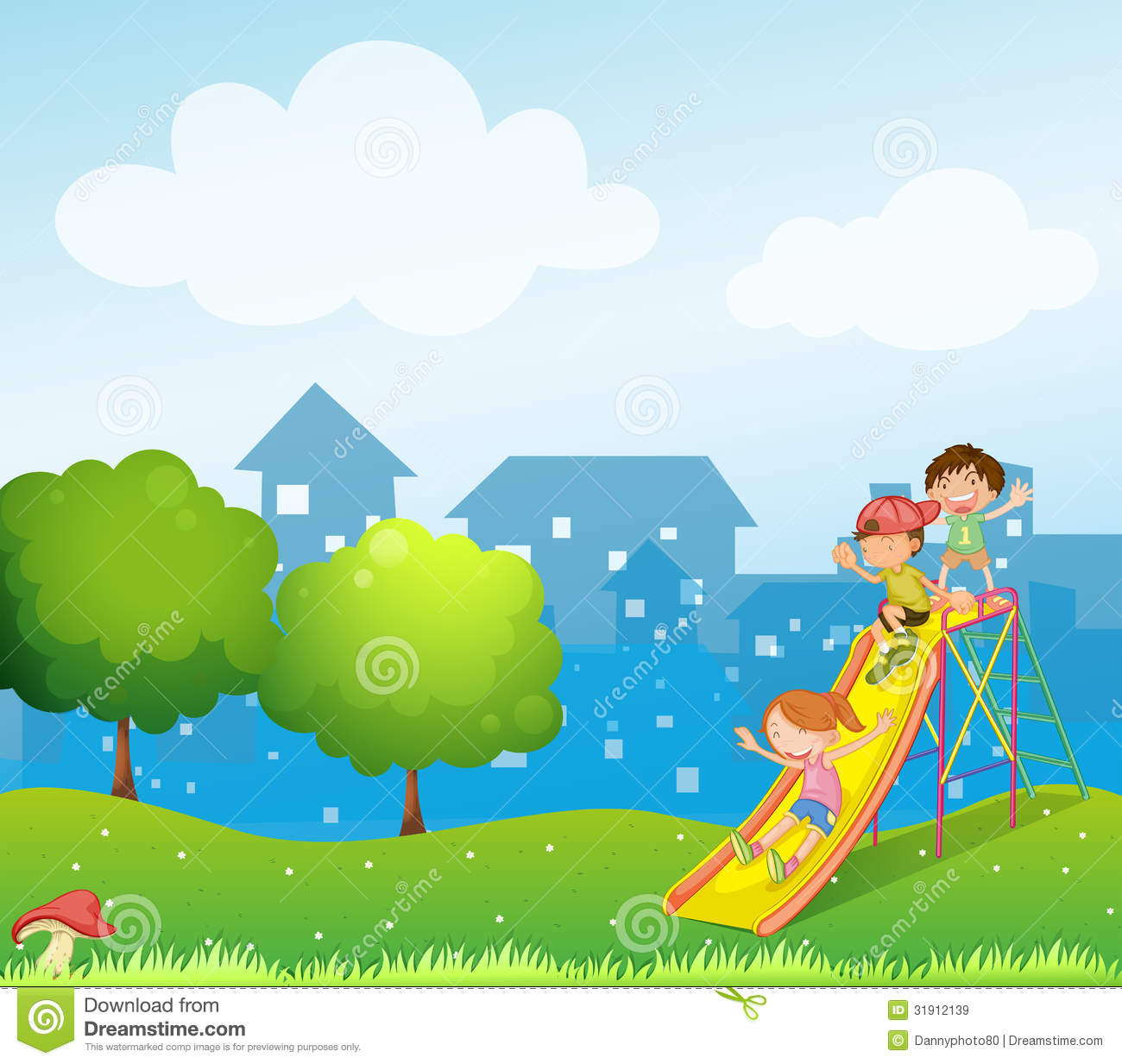 Three Kids Playing At The Playground Stock Vector ...