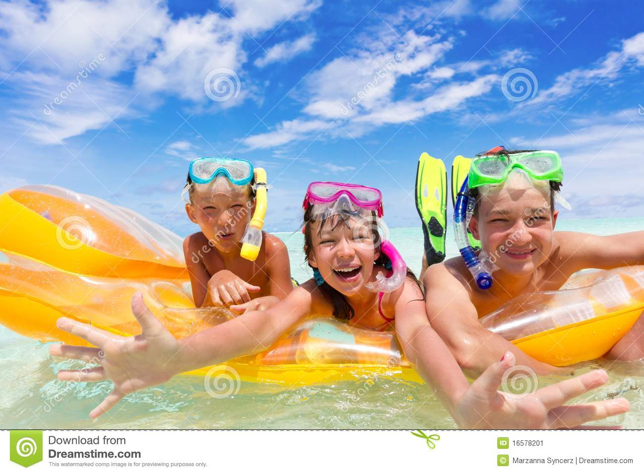 Three kids on a raft