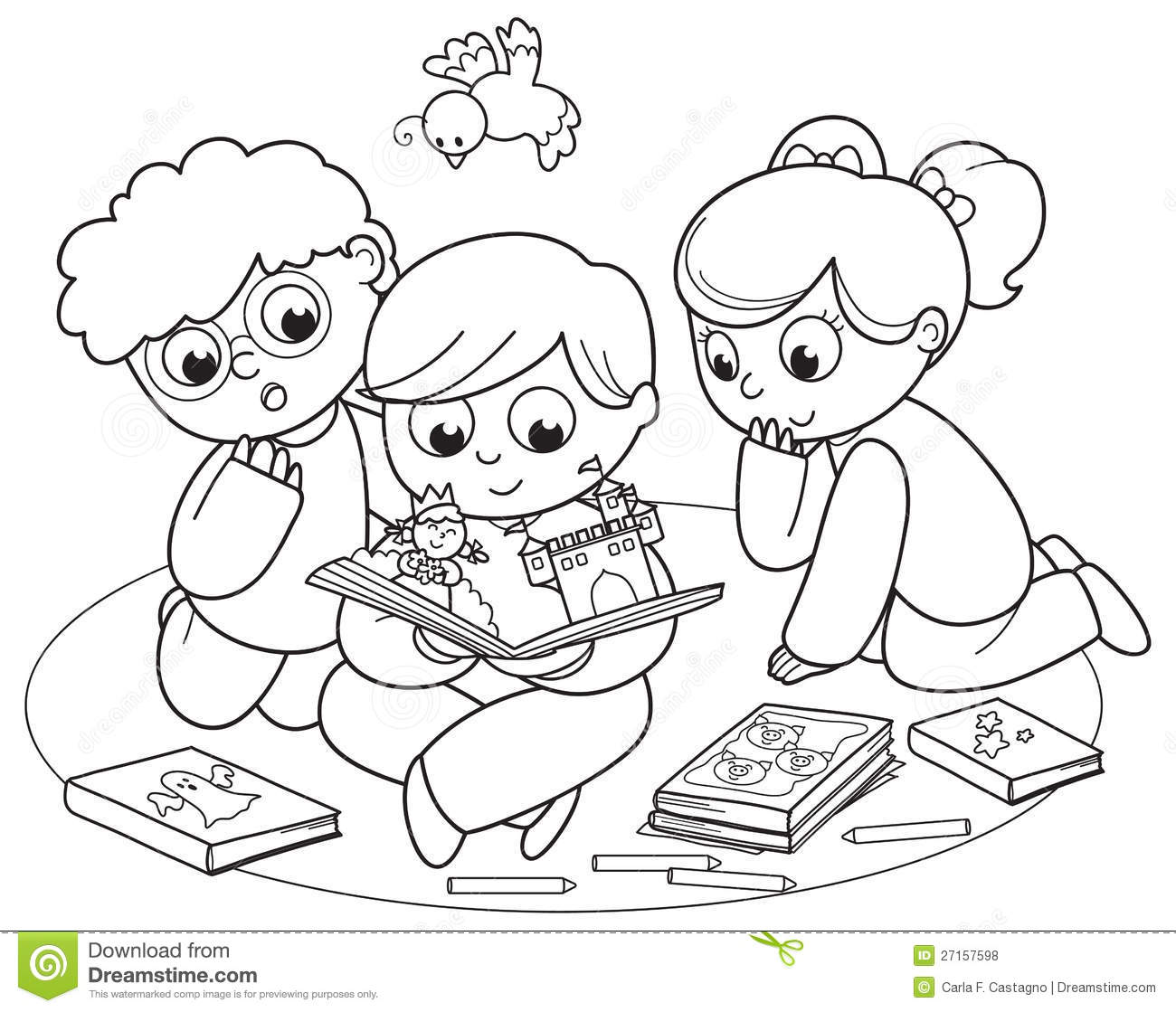 Three Kids Reading A Pop-up Book Stock Vector ...