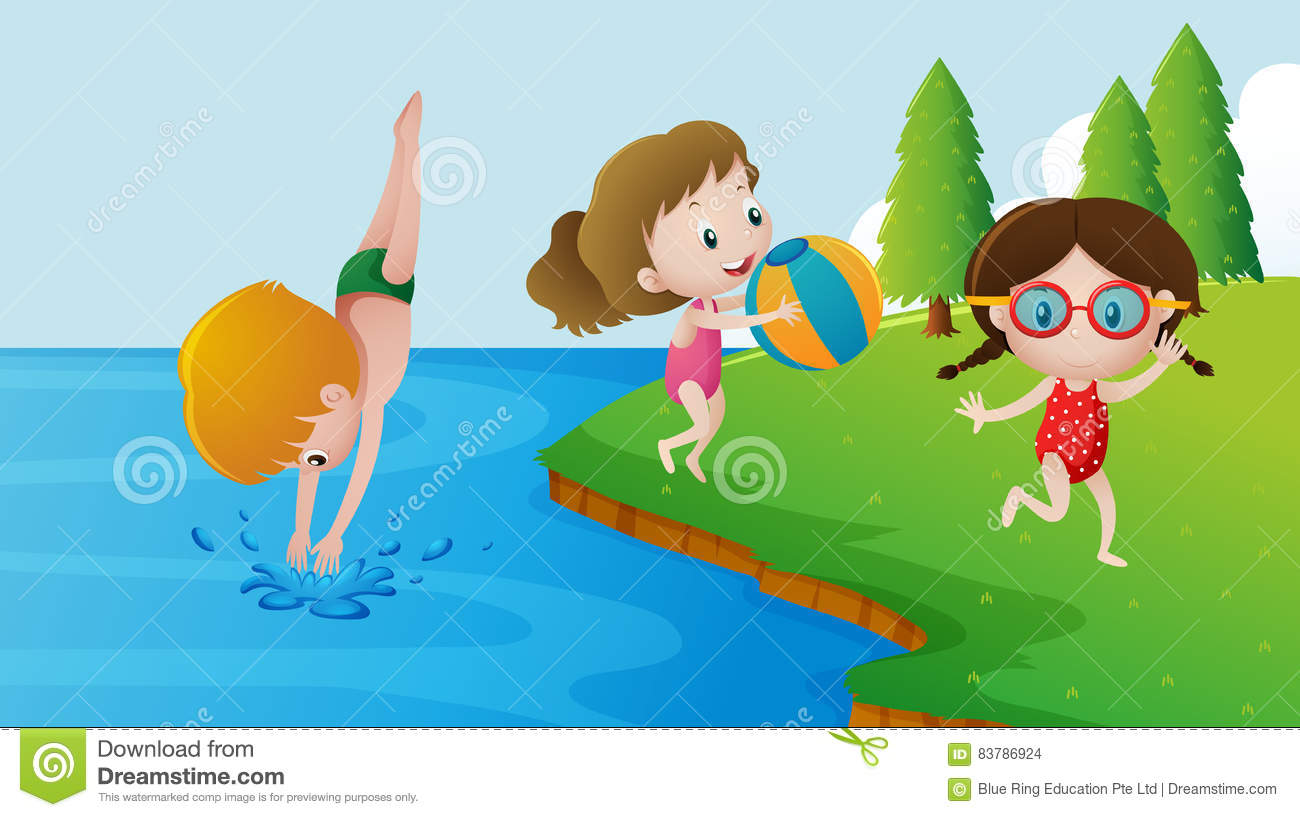 Kids Swimming In A Lake three kids swimming in the lake stock vector - image: 83786924