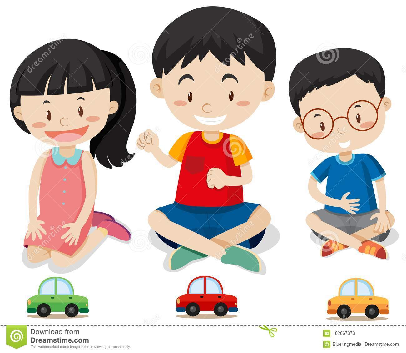 Three Kids With Toy Cars Stock Vector Illustration Of Clipart