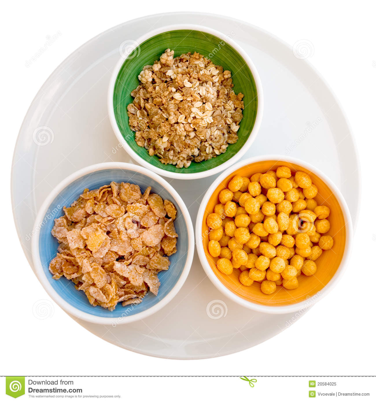 Three Kind Of Cereals Stock Image. Image Of Breakfast