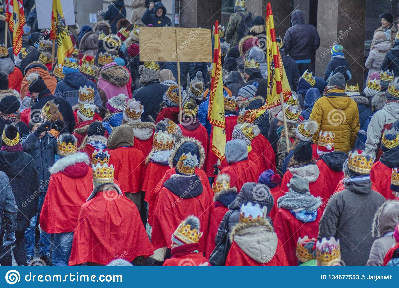 The three kings annual march on the Christian holiday
