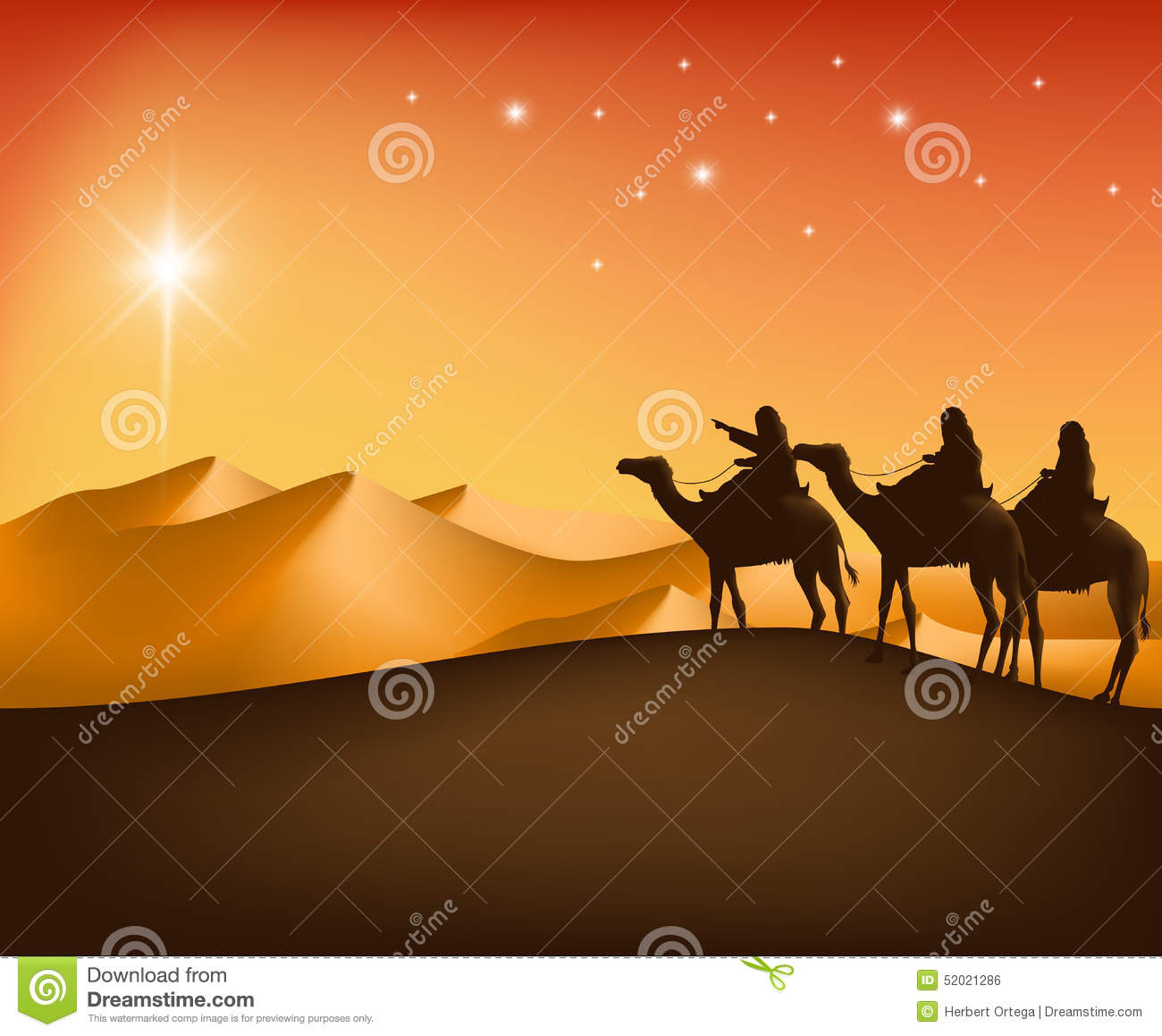 The Three Kings Riding With Camels In The Desert Stock