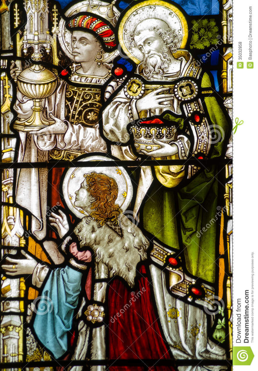 , Victorian stained glass window showing the three Kings, or Wise Men ...