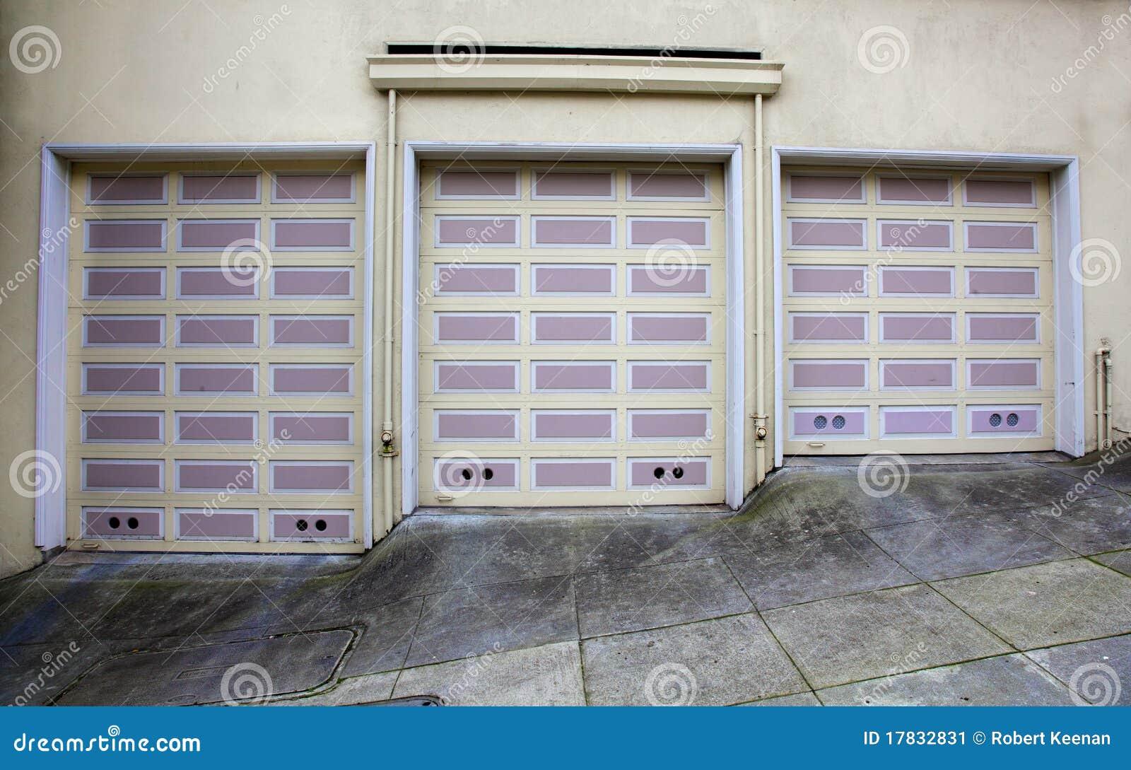 Three Lavendar Garage Doors Stock Image Image 17832831