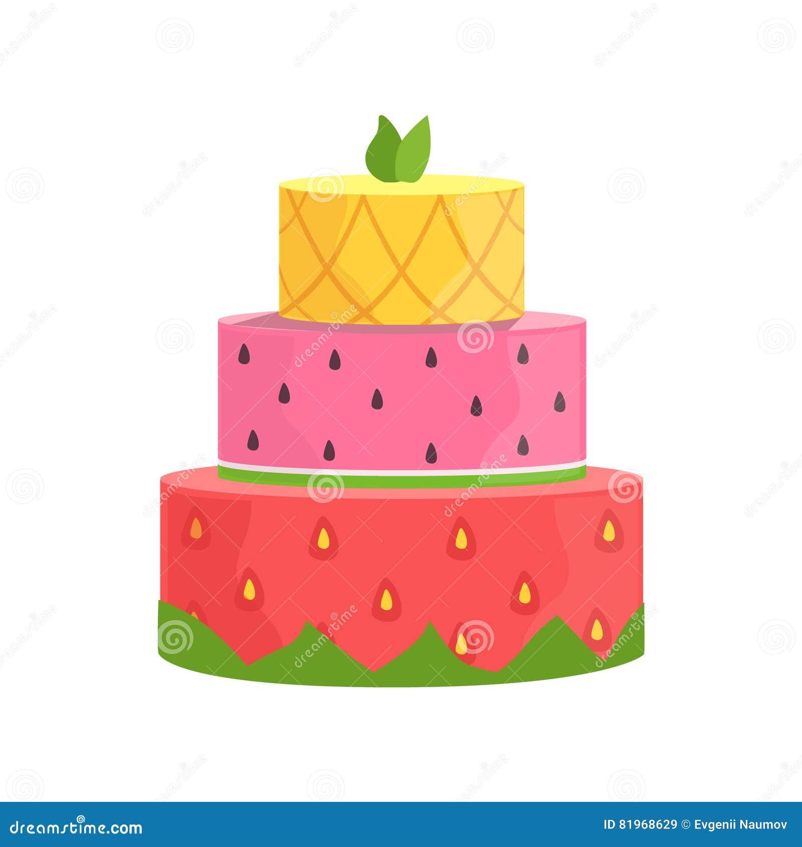 Three Layered Cake With Strawberry Watermelon And