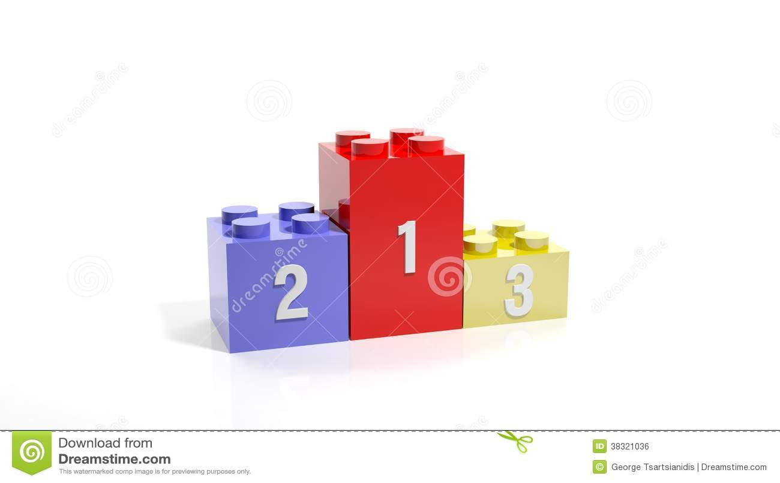 Three Lego Blocks As Podium Royalty Free Stock Image