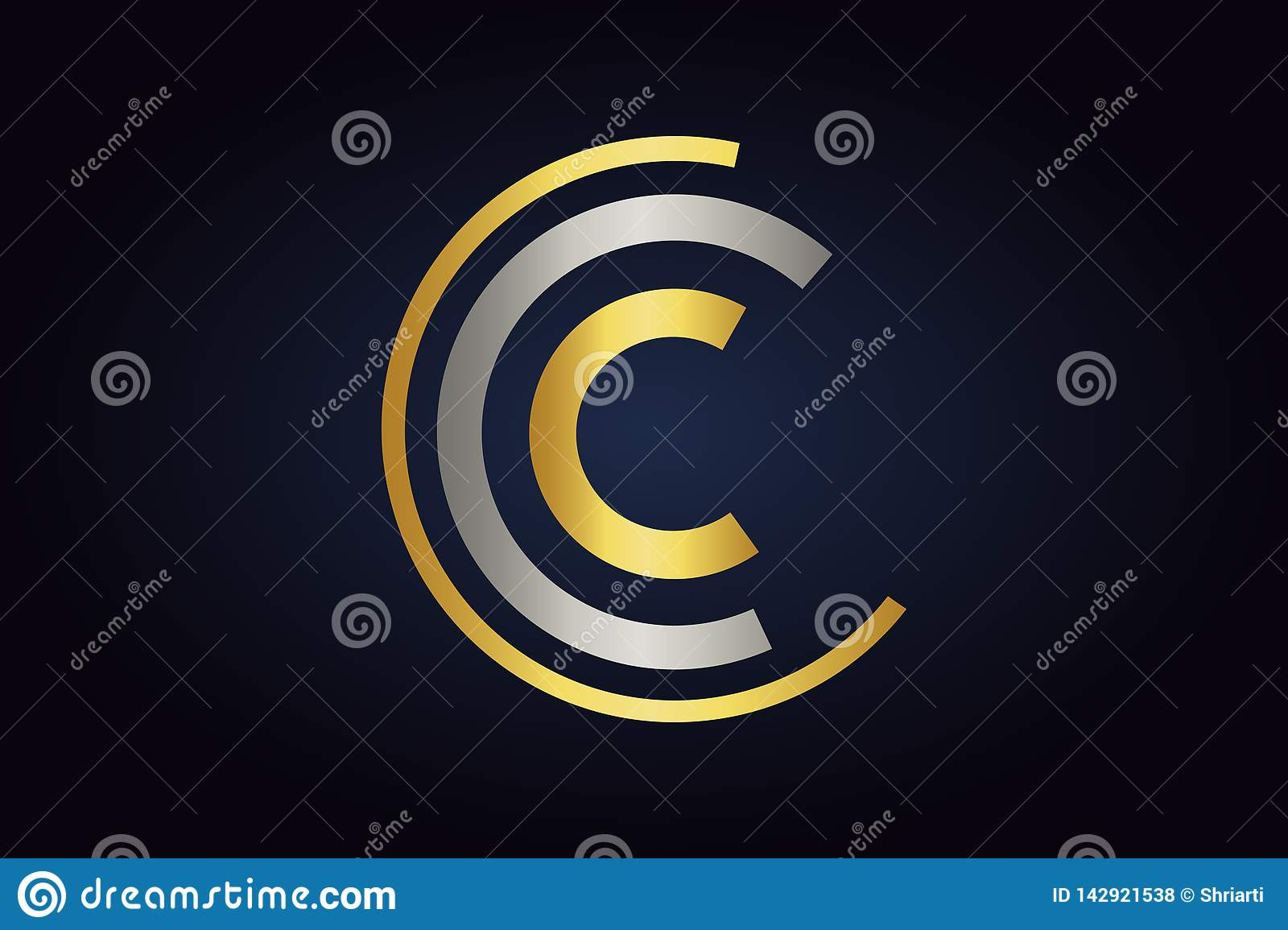 Three Letters C vector logo in silver and gold colors isolated on dark background.