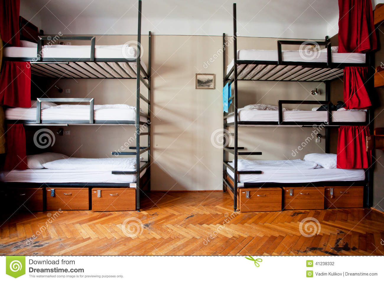 Three Level Dormitory Beds Inside The Hostel Room For Six