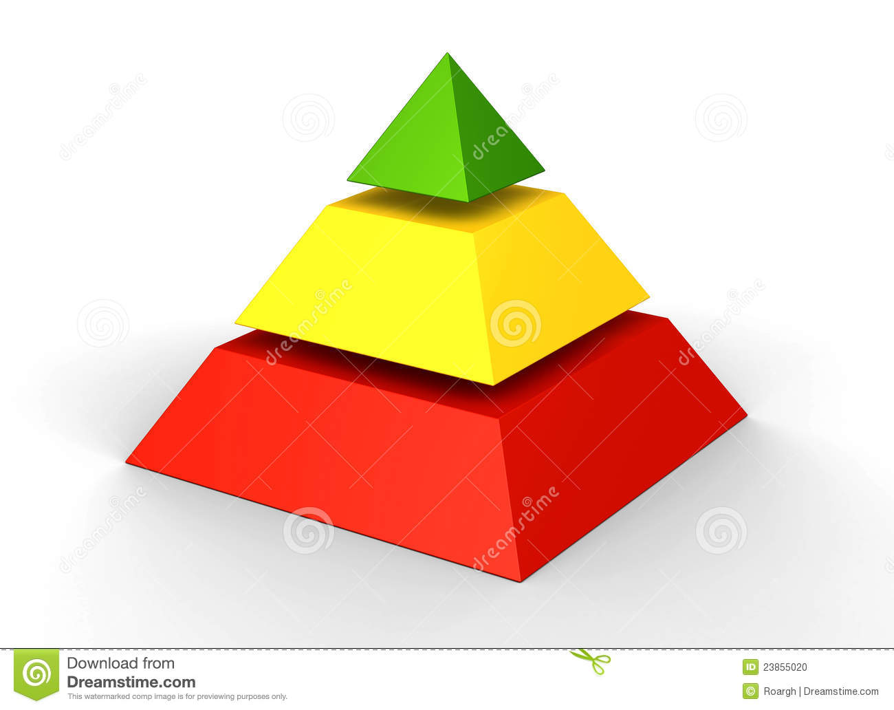 3d rendered colorful layered pyramid chart with three levels in red ...