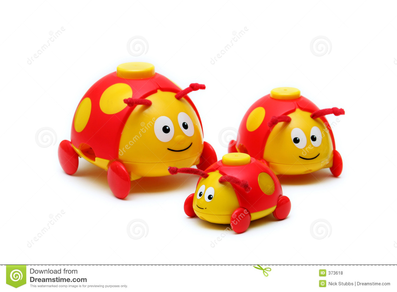 Toys For Little : Three little bug toys for children stock photo image