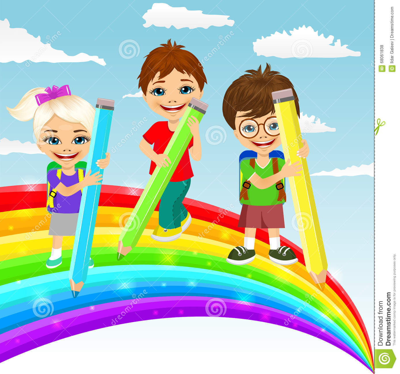 Three little children drawing together a beautiful for Arcobaleno design