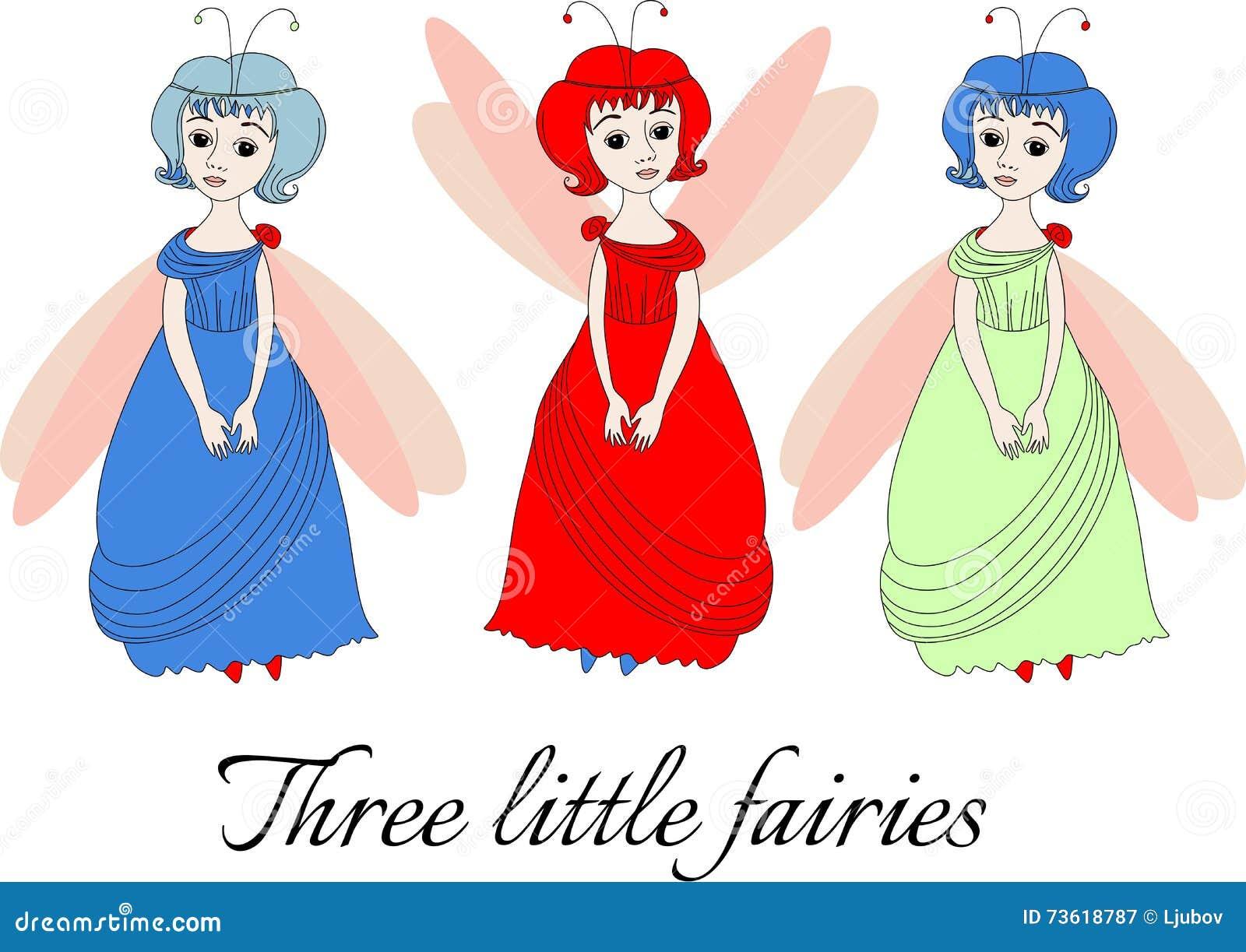 Three Fairies In Flower Garden Vector Illustration ...