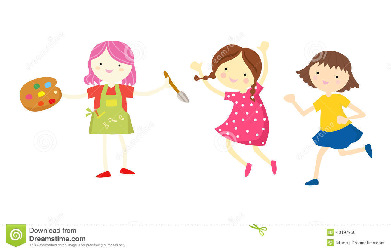 Three Little Girls Stock Vector Illustration Of Bright