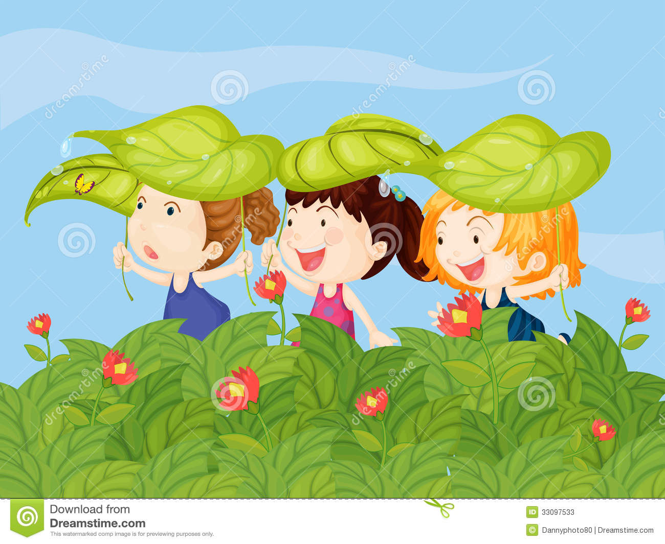 Three Little Kids Playing In The Garden Stock Photos