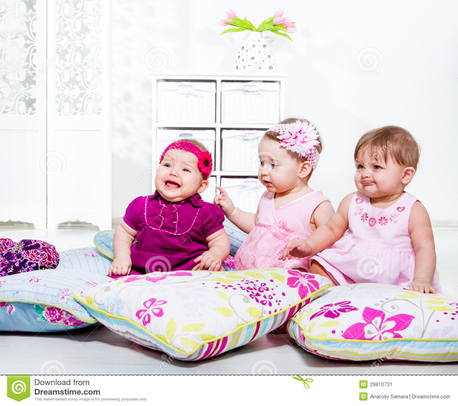Kids Among Pillows Stock Image - Image: 29810731
