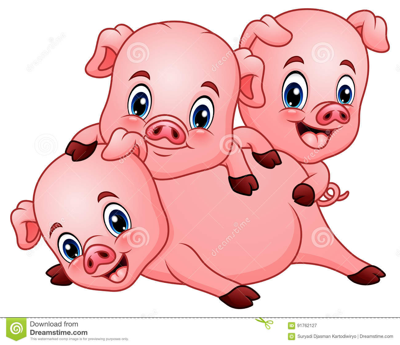 Three little pig cartoon stock vector. Illustration of babyish ...