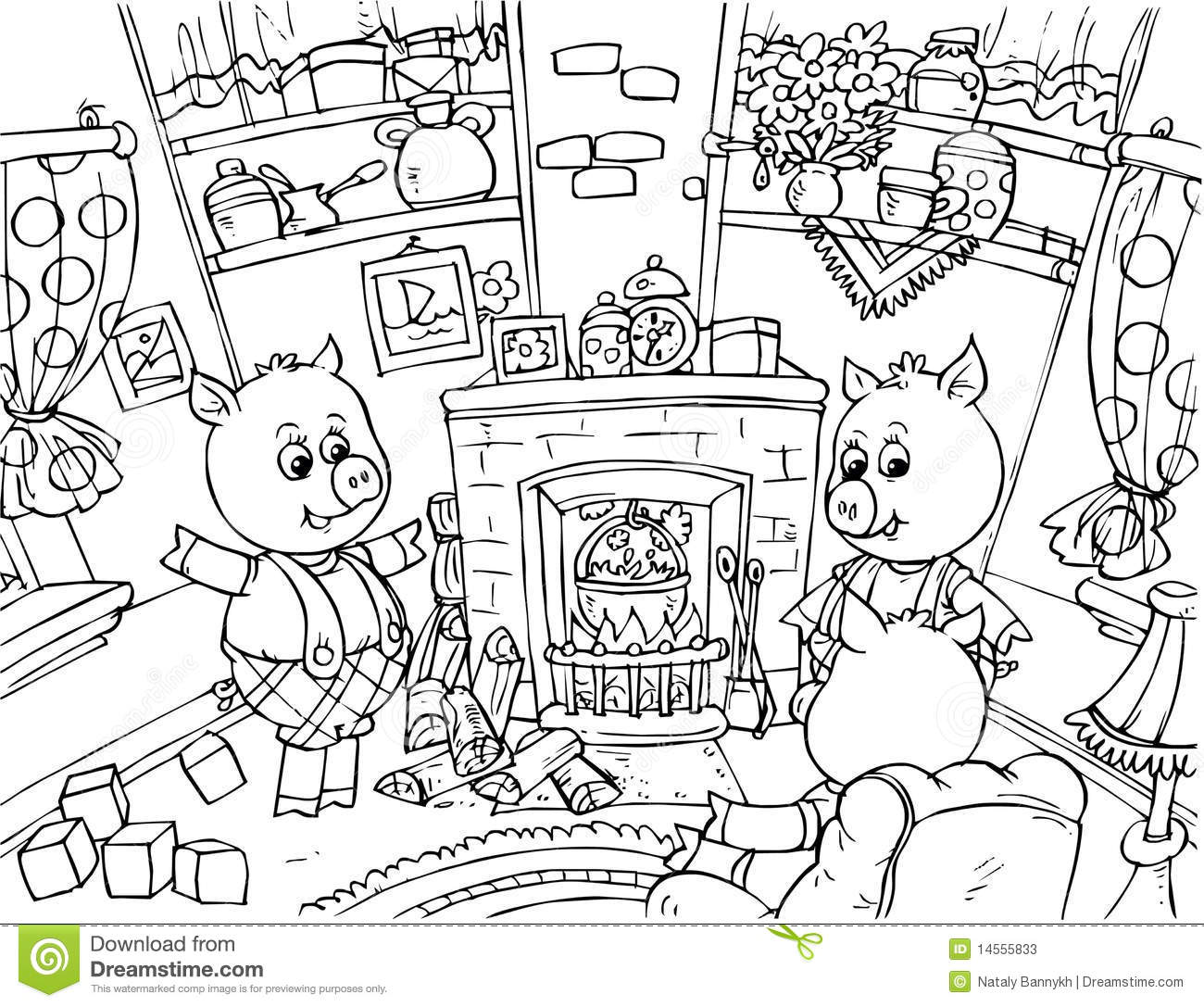 3 little pigs coloring pages free - three little pigs stock illustration illustration of