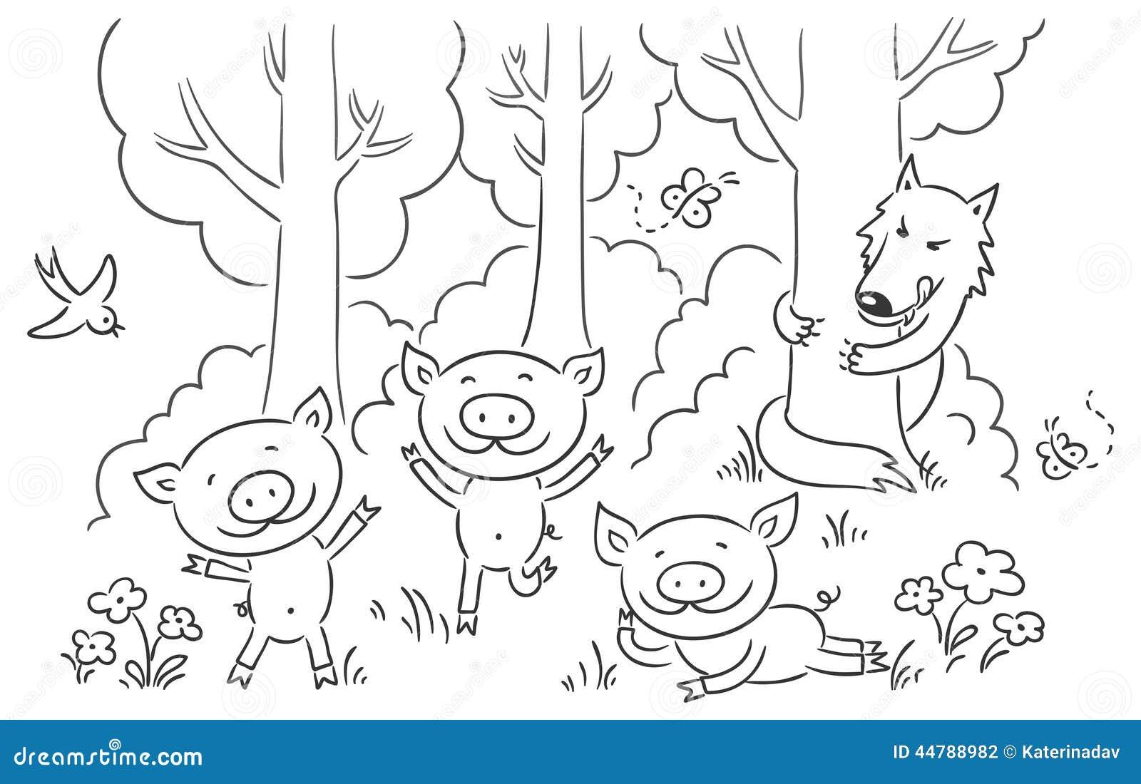 Three Little Pigs Fairy Tale Stock Vector Image 44788982
