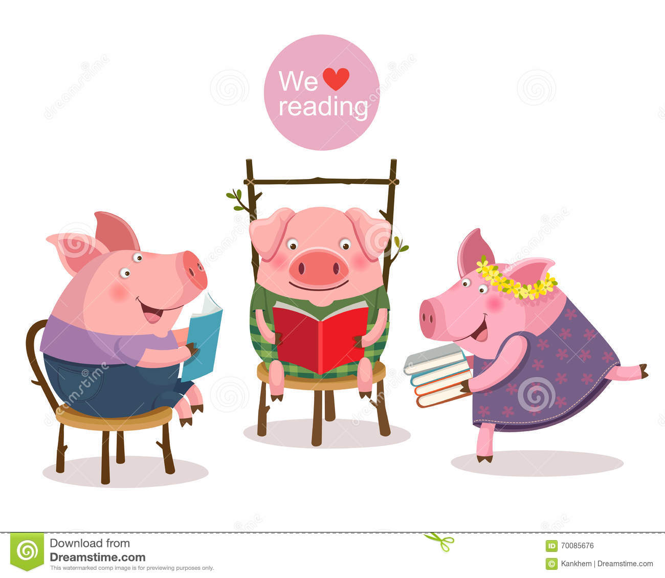 Three little pigs reading a book