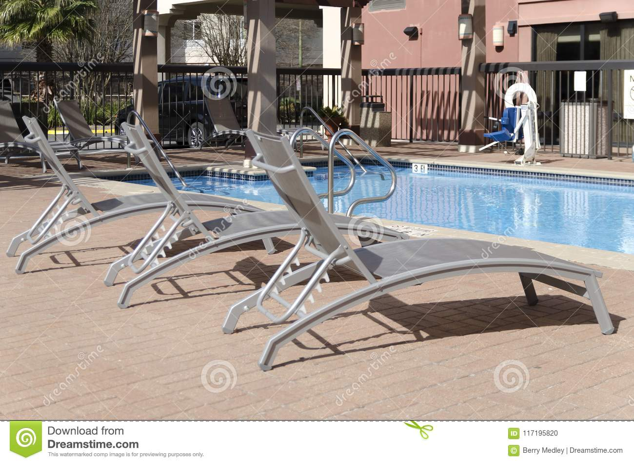 Phenomenal Three Lounge Chairs Sitting Pool Side Stock Photo Image Of Ncnpc Chair Design For Home Ncnpcorg