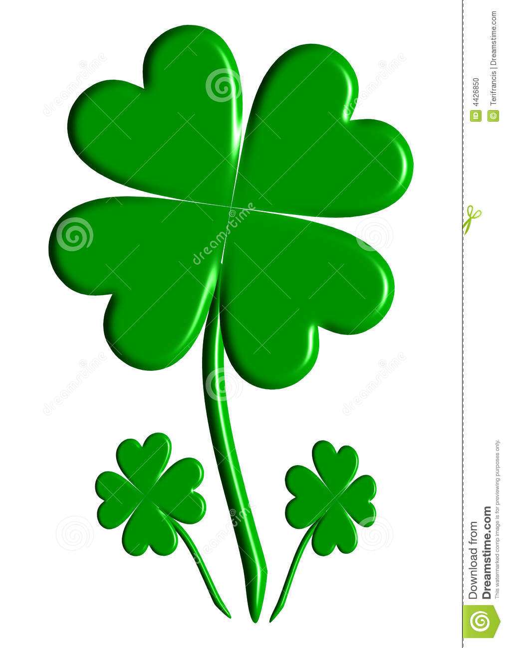 Three Lucky Four Leaf Clovers Stock Illustration Illustration Of