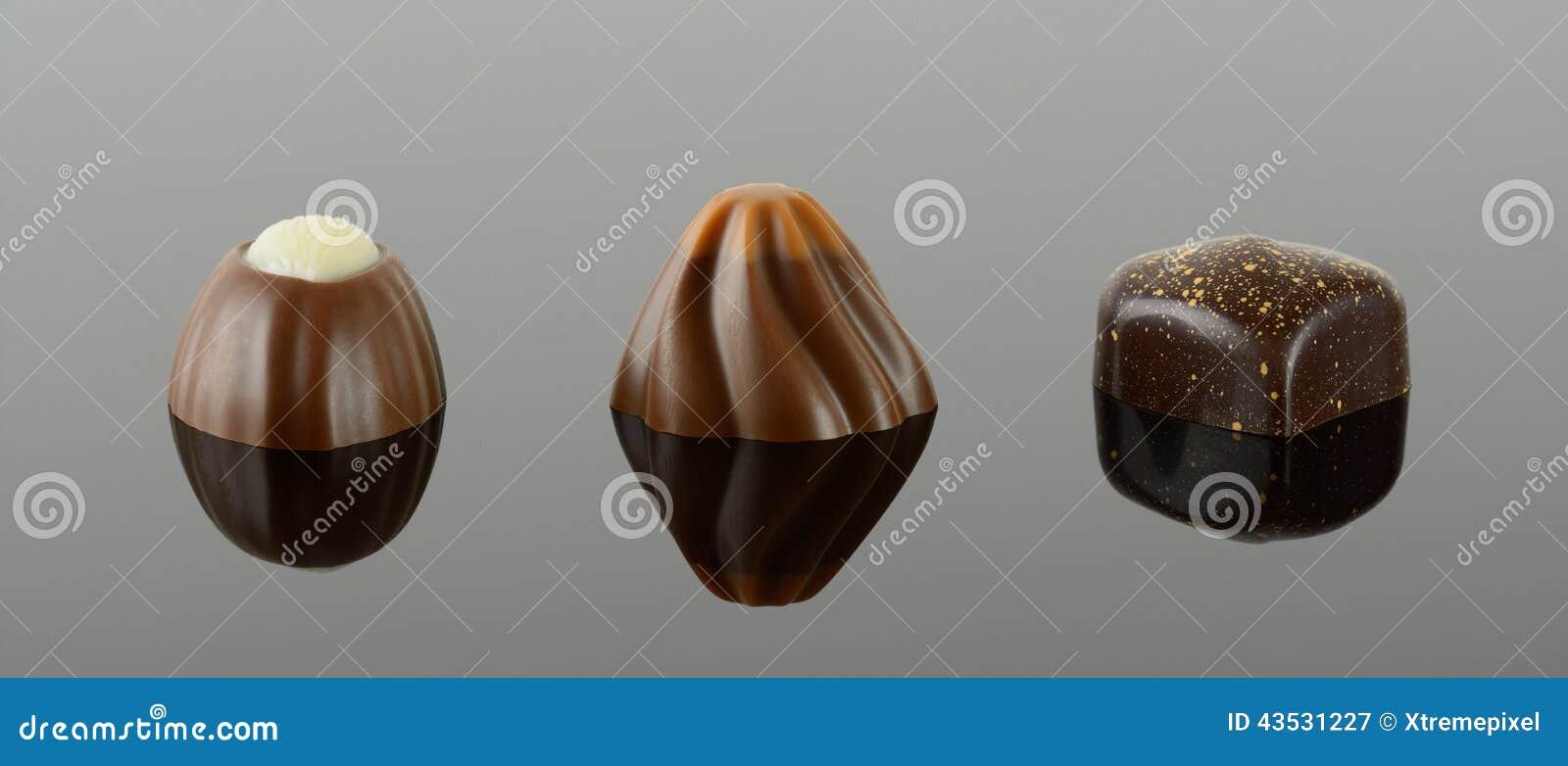 Three luxury chocolates