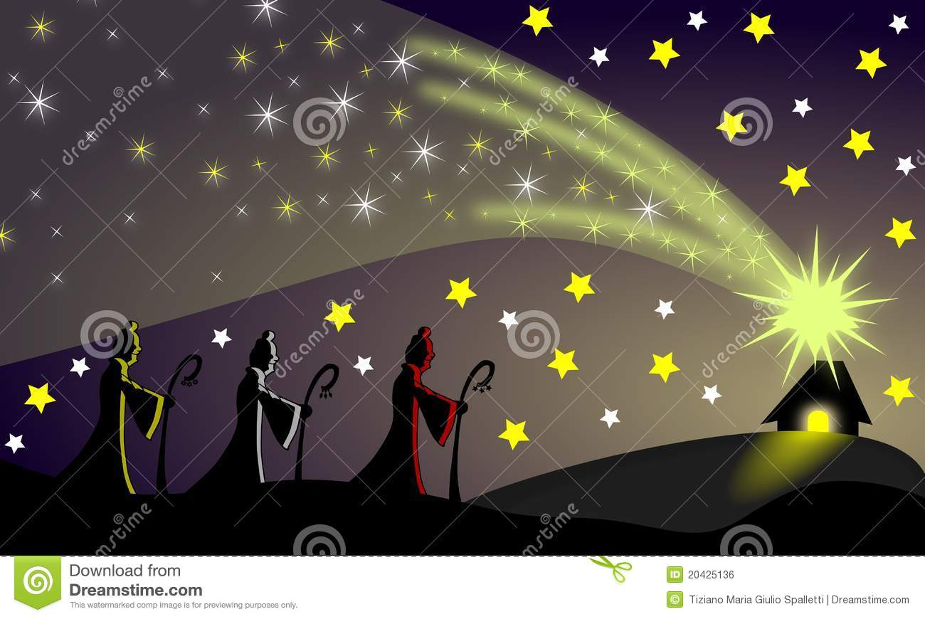 Following a shooting star the three wise men went to the place in