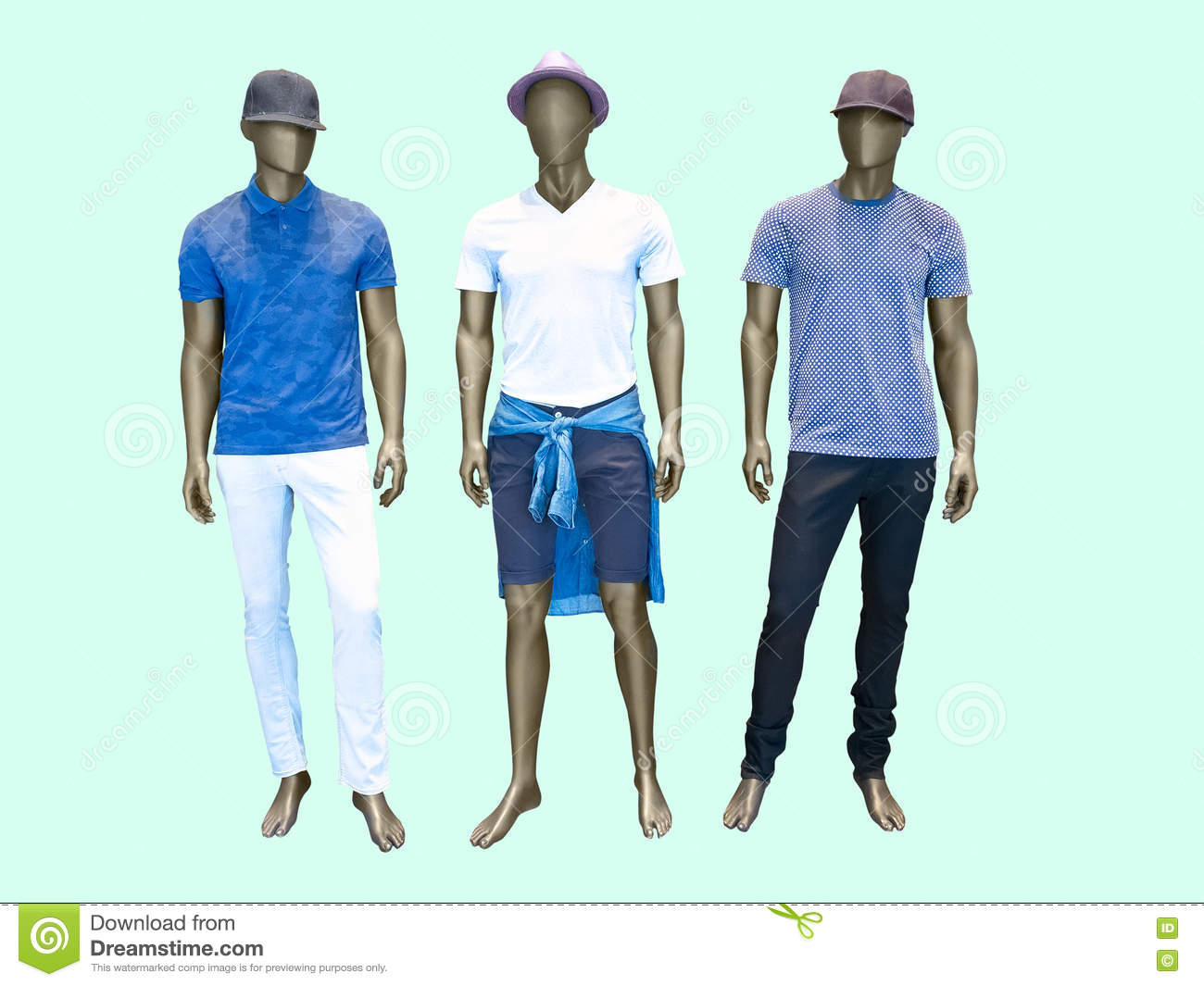 cfb976d3b930 Three male mannequins. In summer clothes over green background. No brand  names or copyright