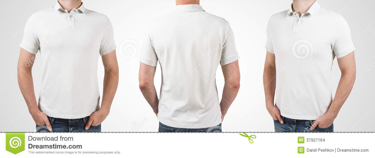 bce73a5e1 Three man in white polo t-shirt on a white background