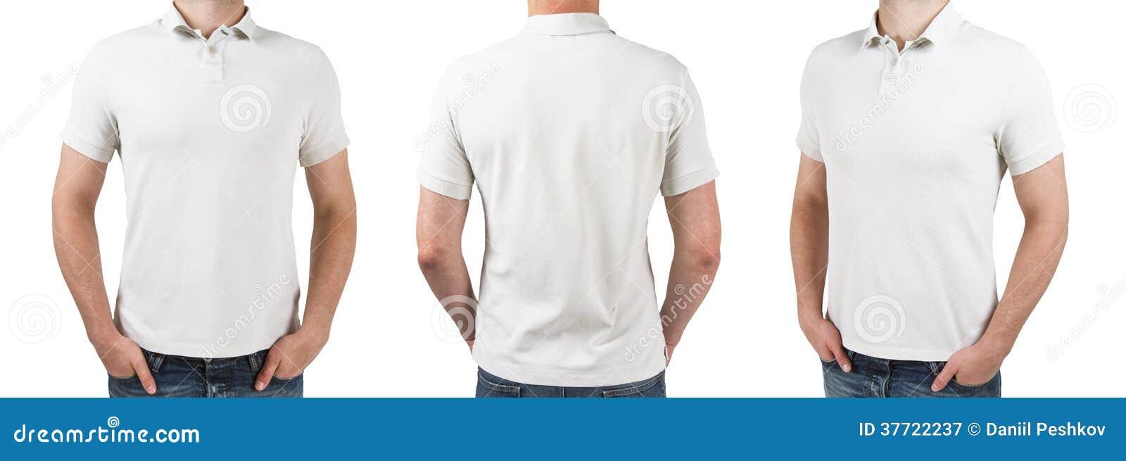 Three man in white polo t-shirt
