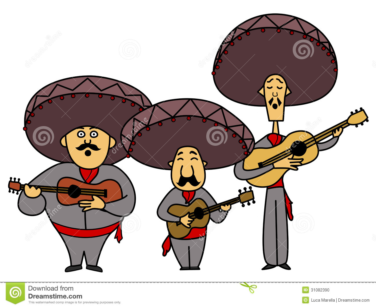 Illustration of three singing and playing mexican musicians with ...