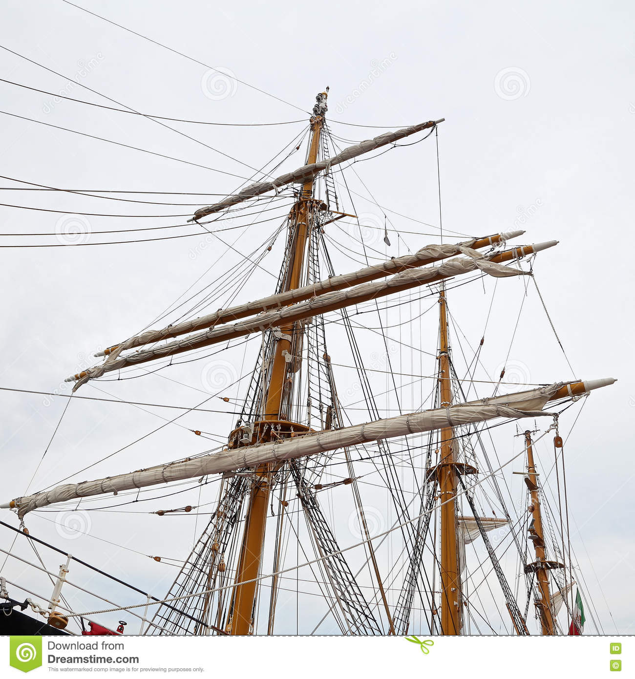 The Three Masted Palinuro A Historic Italian Navy Training Electricity Basic Courses Gaeta Italy June 25 2016 Barquentine Moored In Port