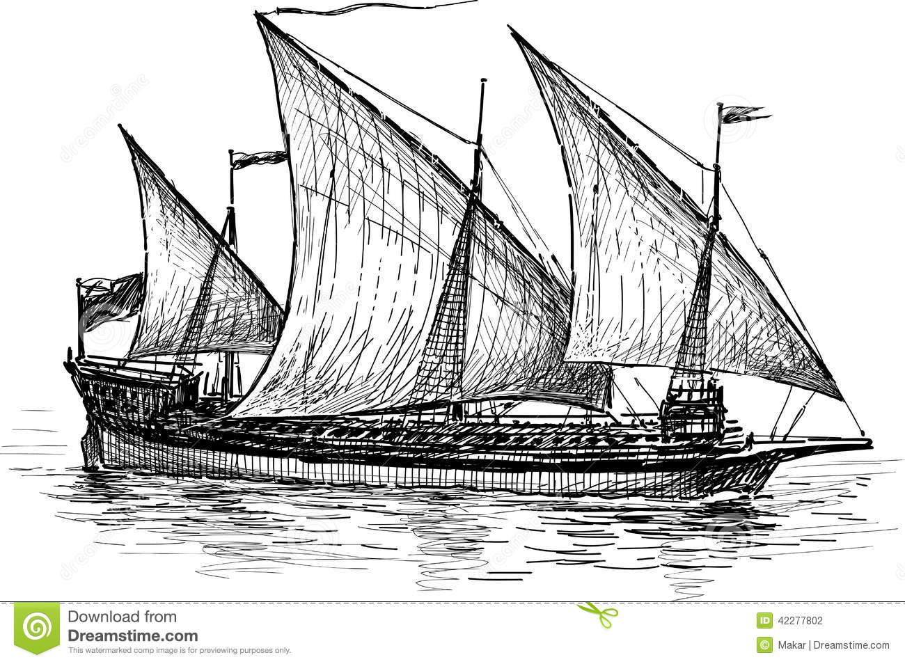 Three-masted sailing ship stock vector. Illustration of ...