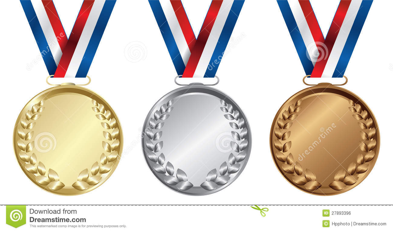 Silver Medal Clipart Three medals  Gold  Silver and