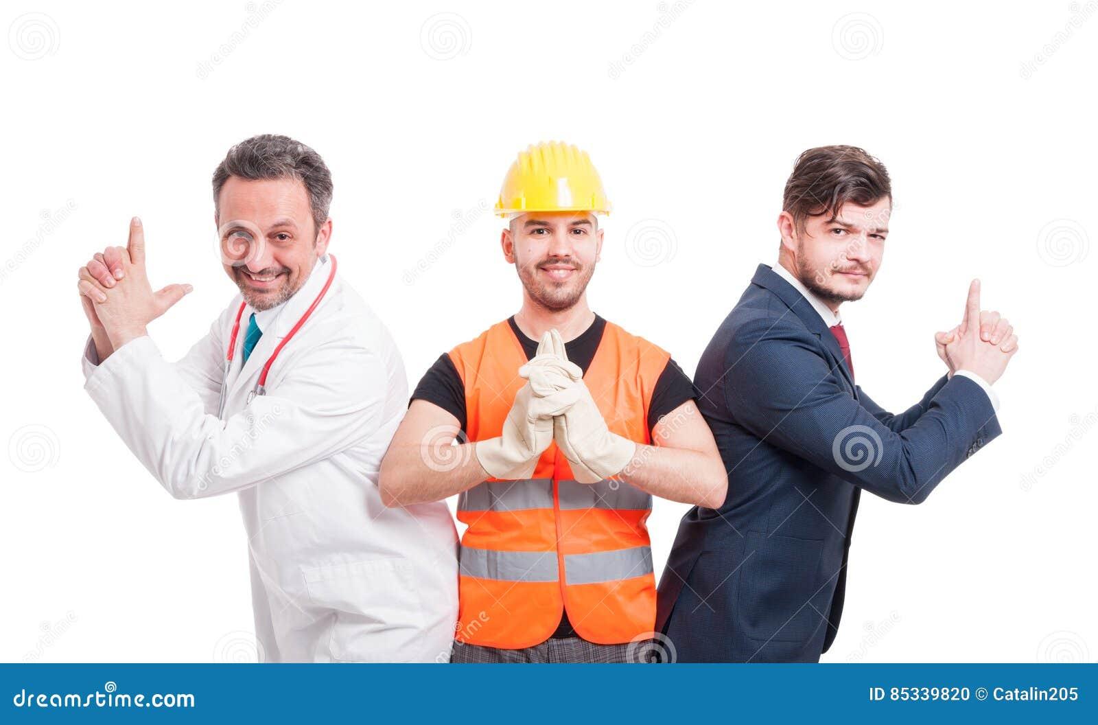 https://thumbs.dreamstime.com/z/three-men-different-professions-handsome-doing-shoot-gun-gesture-white-background-85339820.jpg
