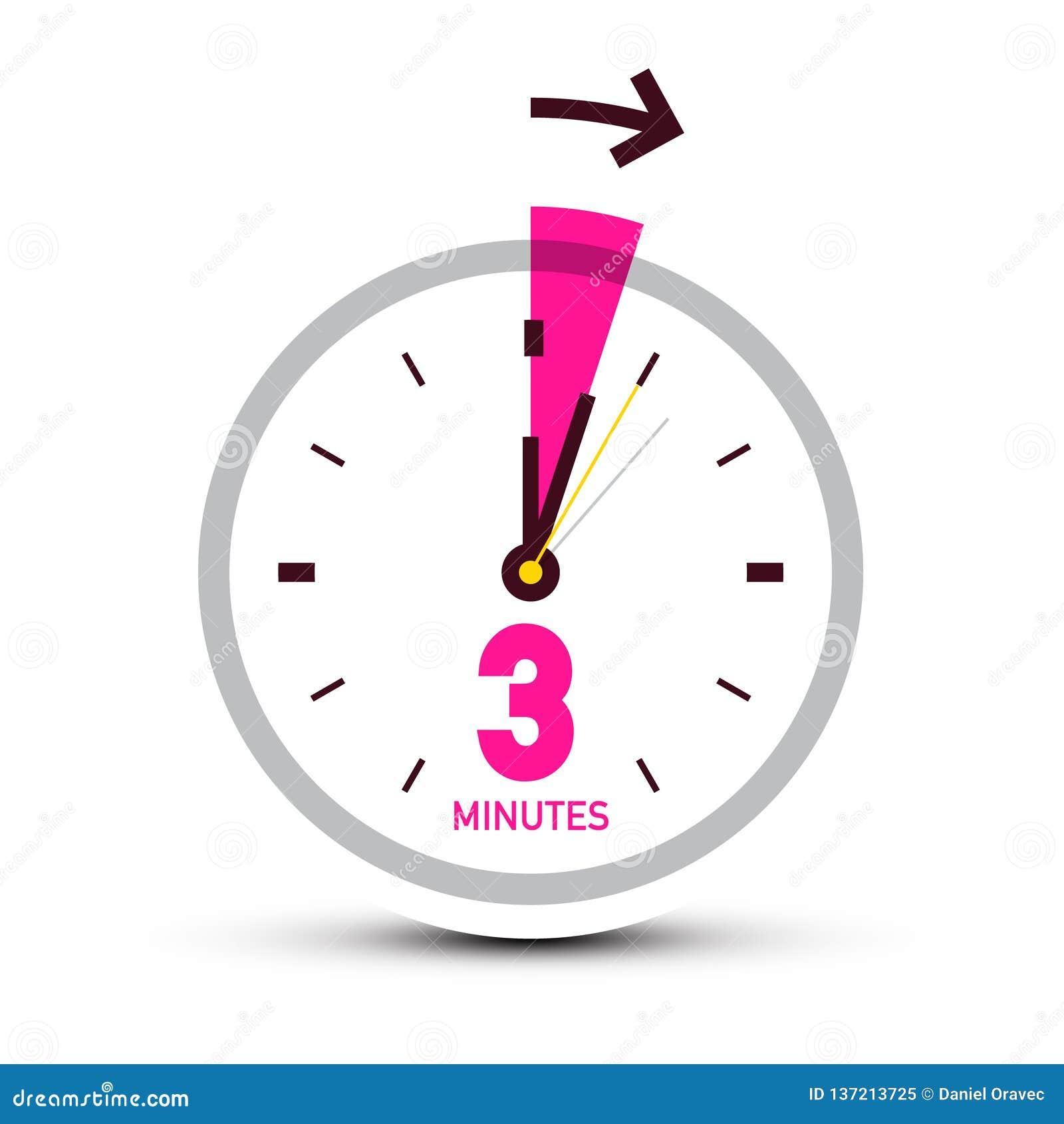 three 3 minutes clock icon with arrow stock vector