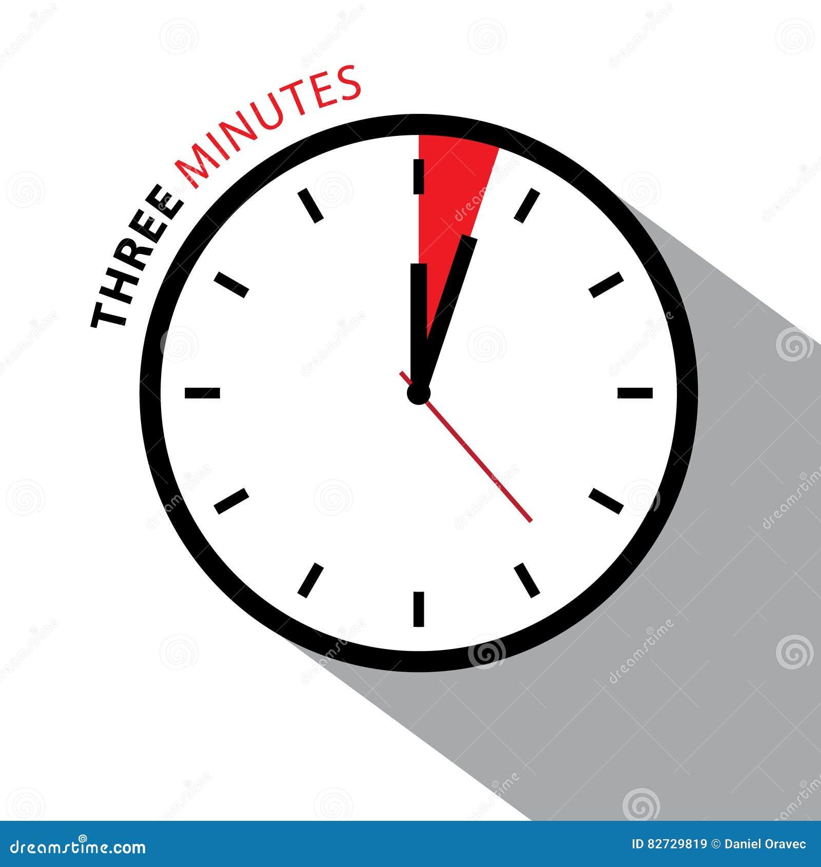 three minutes clock  stopwatch countdown  stock vector