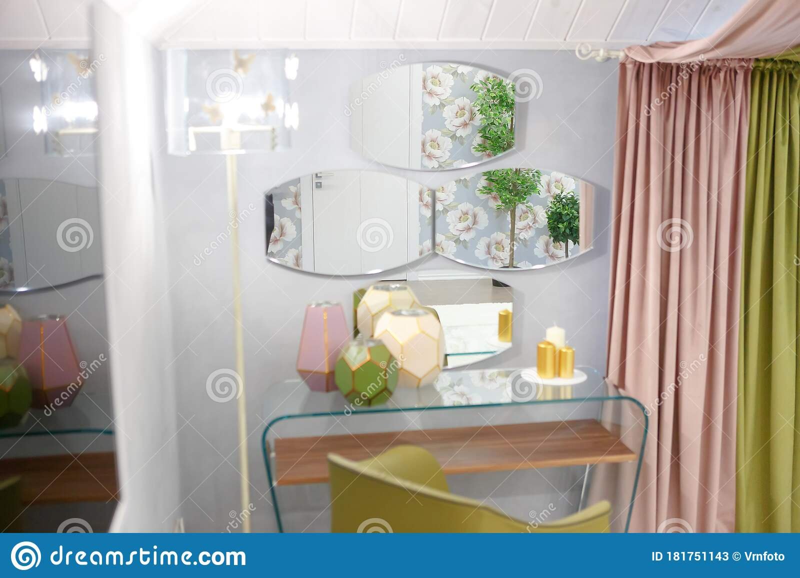 Picture of: Three Mirrors Hang On The Wall By The Bedside Table Stock Image Image Of Gold Flower 181751143
