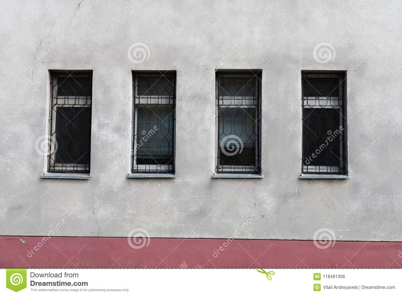 Three Modern Window Frames On A Blank Grungy Brown Concrete Wall ...