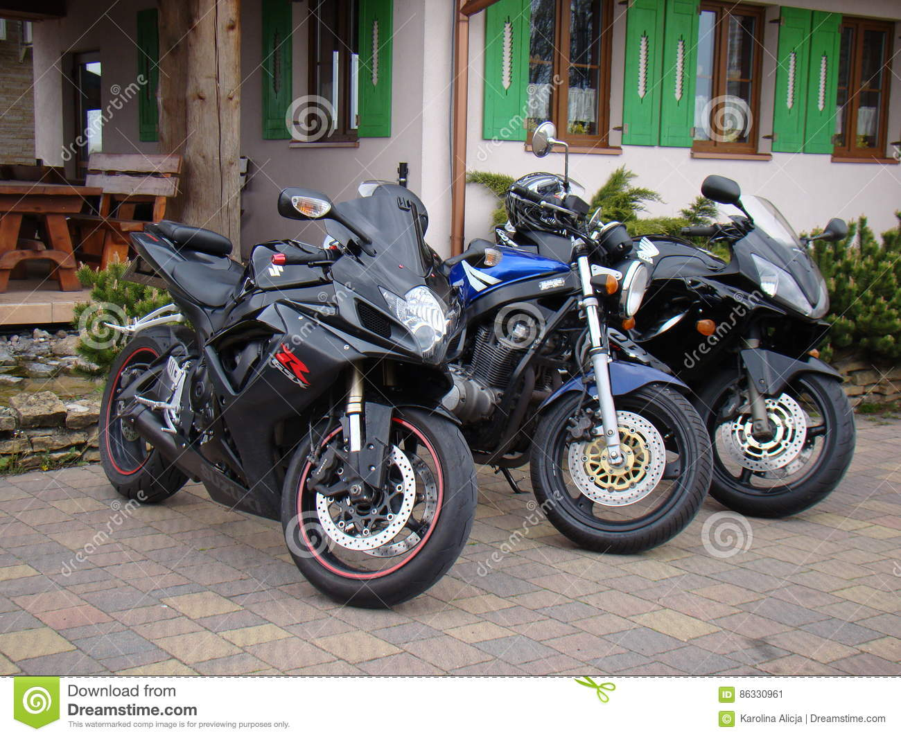 Three Motorcycles Sport Bike Suzuki GS 500 GSX-600 And Honda