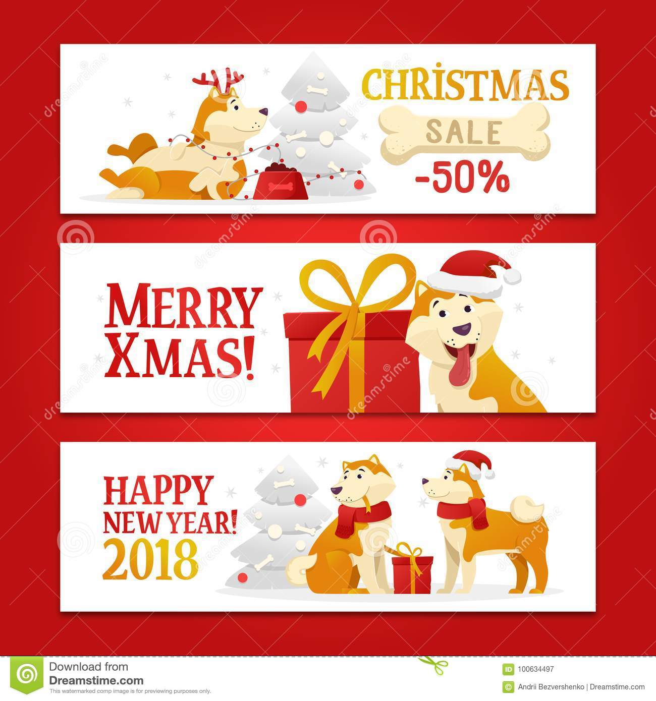 Three New Year 2018 And Christmas Horizontal Banners With Yellow