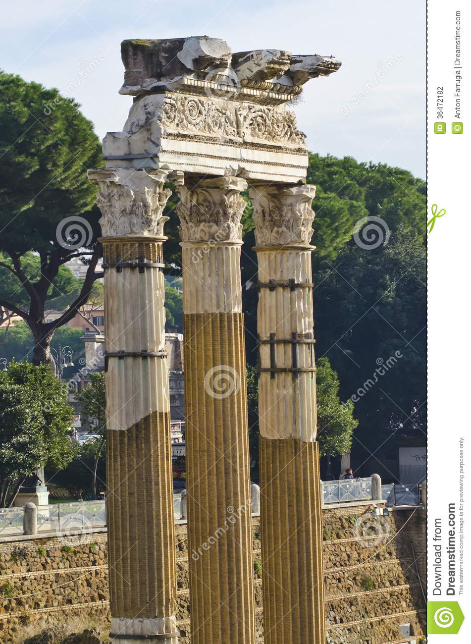Three Old Ancient Columns Found In The Roman Forum In Rome