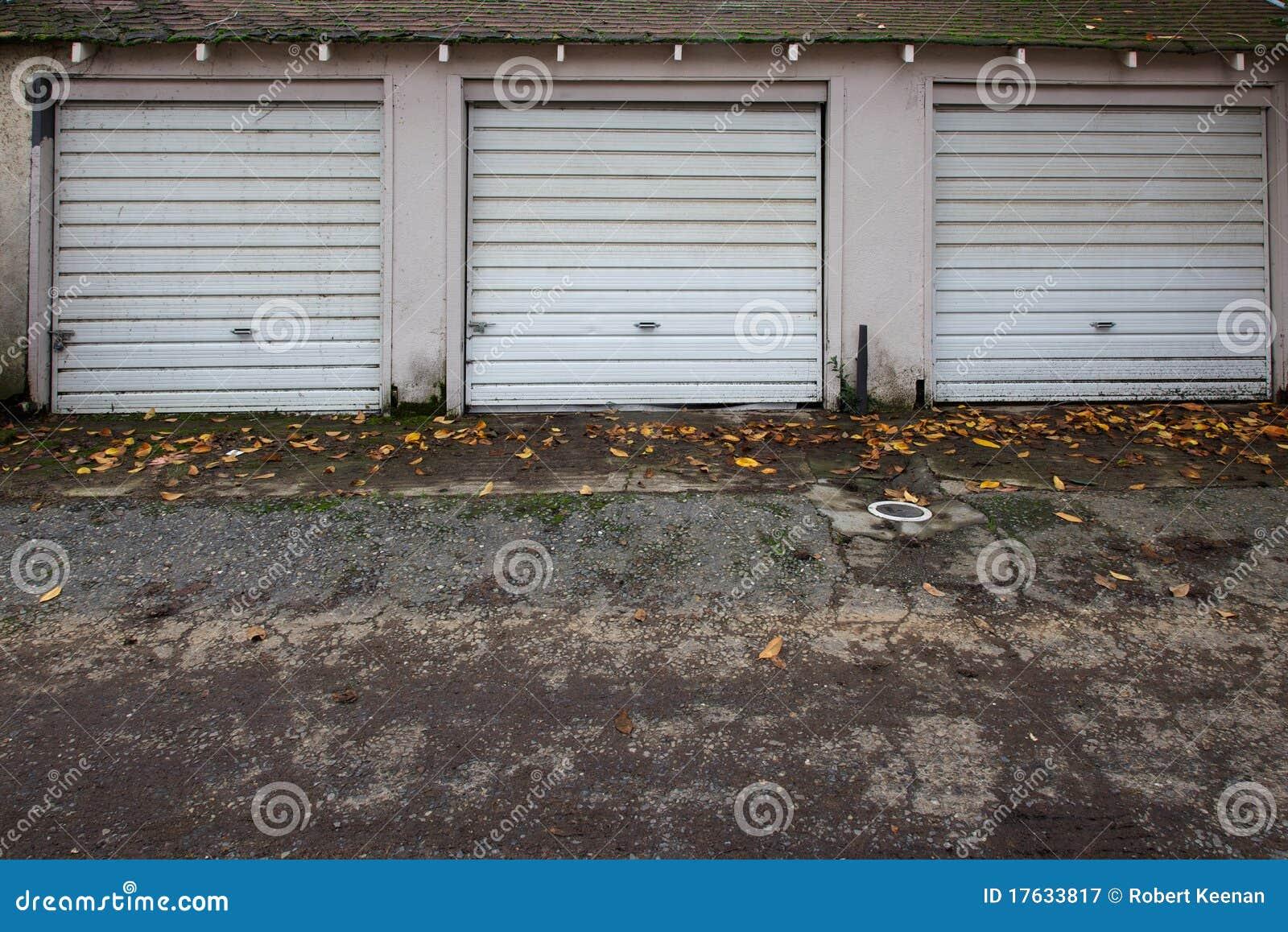 Three old garage doors stock image image of frame door for Three door garage