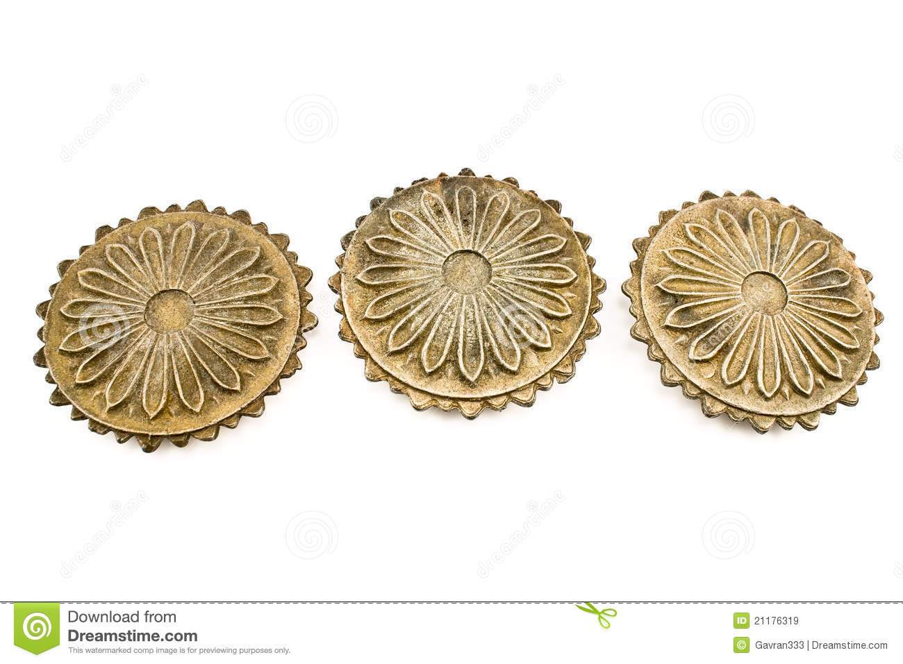Three old metal ornament