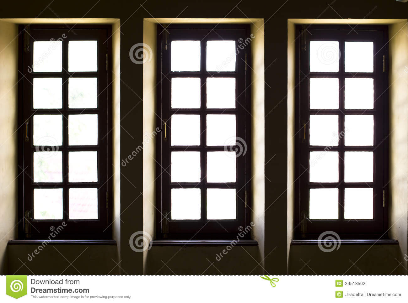 Three old style windows stock photo image of frame style for House windows online