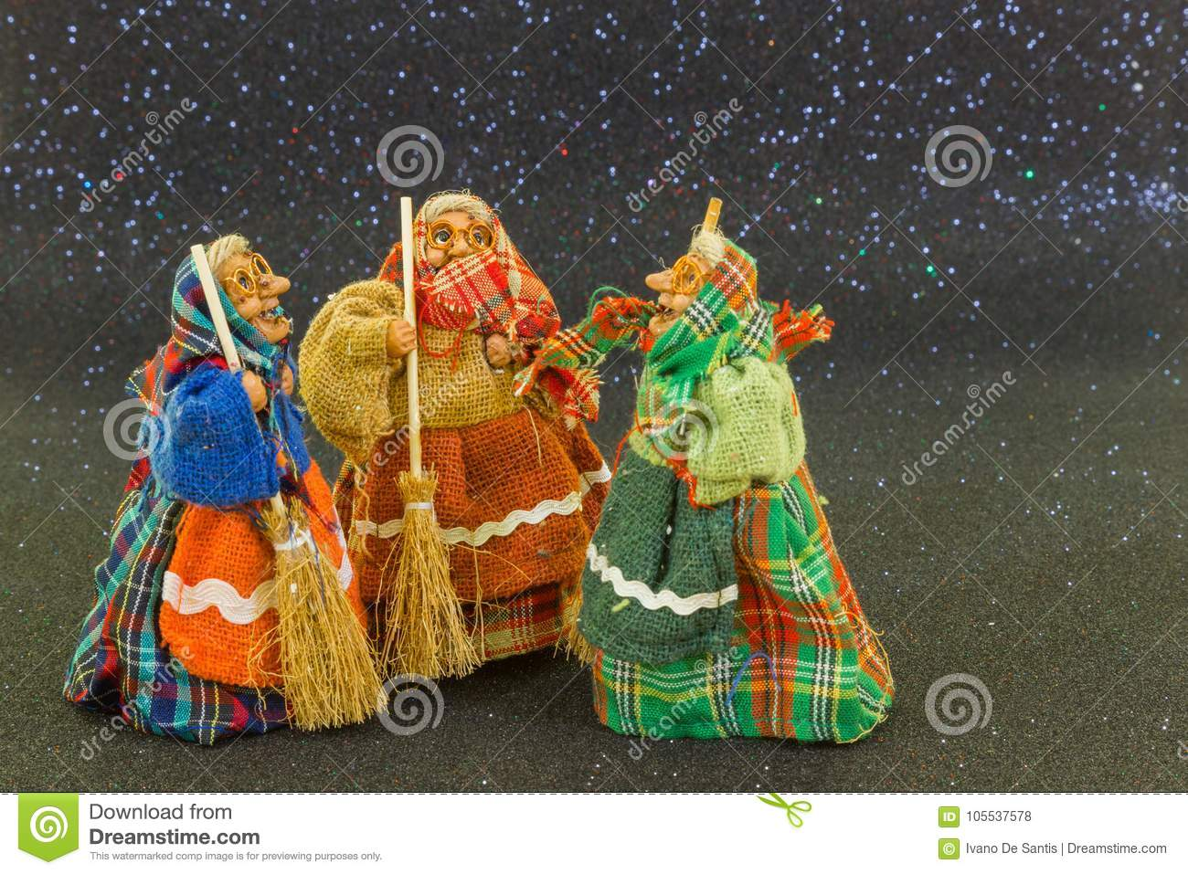 Three Old Witches On A Black Background  Stock Photo - Image