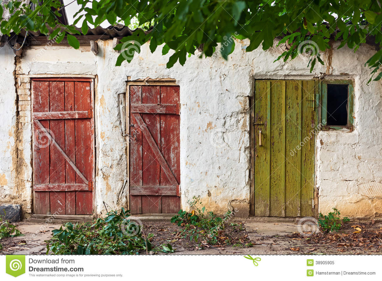 Three Old Wooden Painted Doors Stock Photo Image 38905905